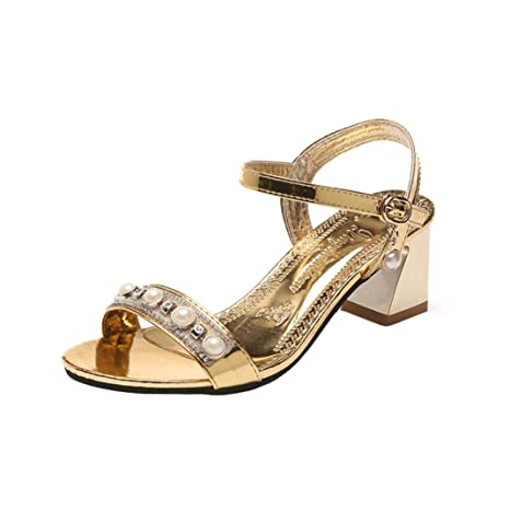 c9d9a53c00c5 Sunshinehomely Women Girls Glitter Pearl Sandals Women Fashion Open Toe  Shoes Bohemia Mid High Heel Shoes
