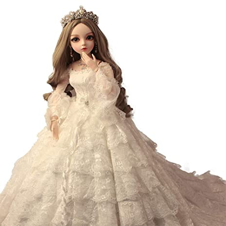 Amazon.com: MEMIND Bjd 23.6 in 1/3 vestido de novia de moda ...