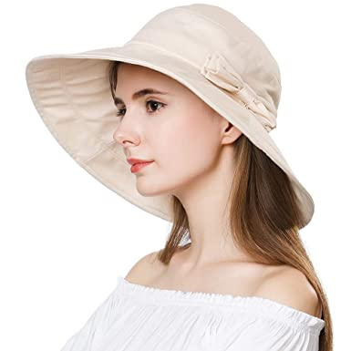 Womens UPF50 Cotton Packable Summer Ladies Sun Hats w  Chin Cord Wide Brim  Fashionable Beige 43fc6789dd1b