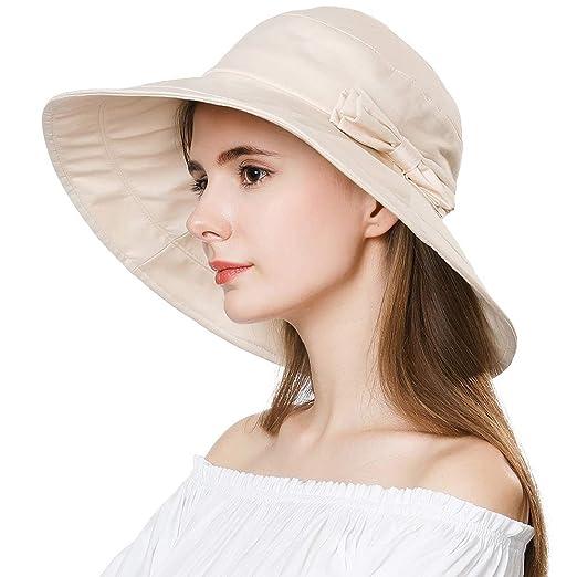 5c5b0f257 Womens UPF50 Cotton Packable Sun Hats w/Chin Cord Wide Brim Stylish 54-60CM