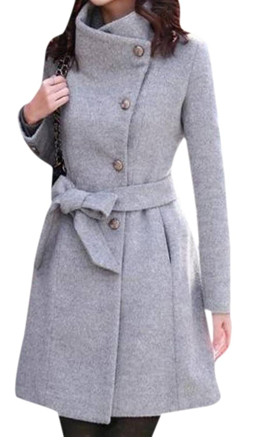 Abetteric Women's Woolen Elegant Long Sleeve Overcoat Parka Outwear