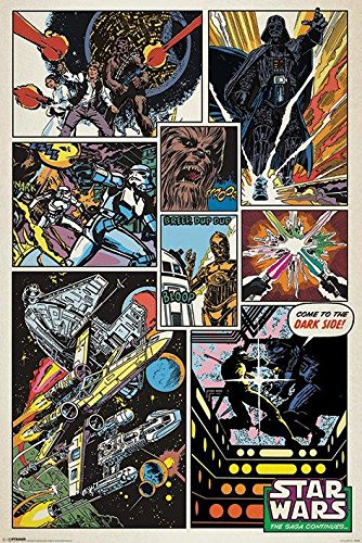 Star Wars Retro Comic Collage Sci-Fi Space Action Movie Film