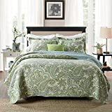 Brandream Green Paisley Printed Bedding Set Luxury Oversized Queen Quilt Set Soft Cotton Romantic Bedspreads Queen Size