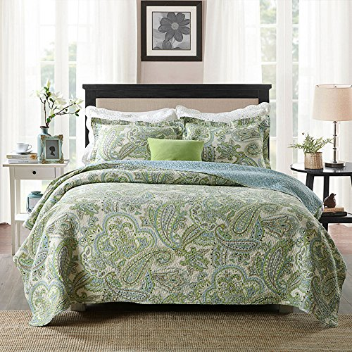 Brandream Green Paisley Printed Bedding Set Luxury Oversized Queen Quilt Set Soft Cotton Romantic Bedspreads Queen Size (Comforter Queen Paisley)