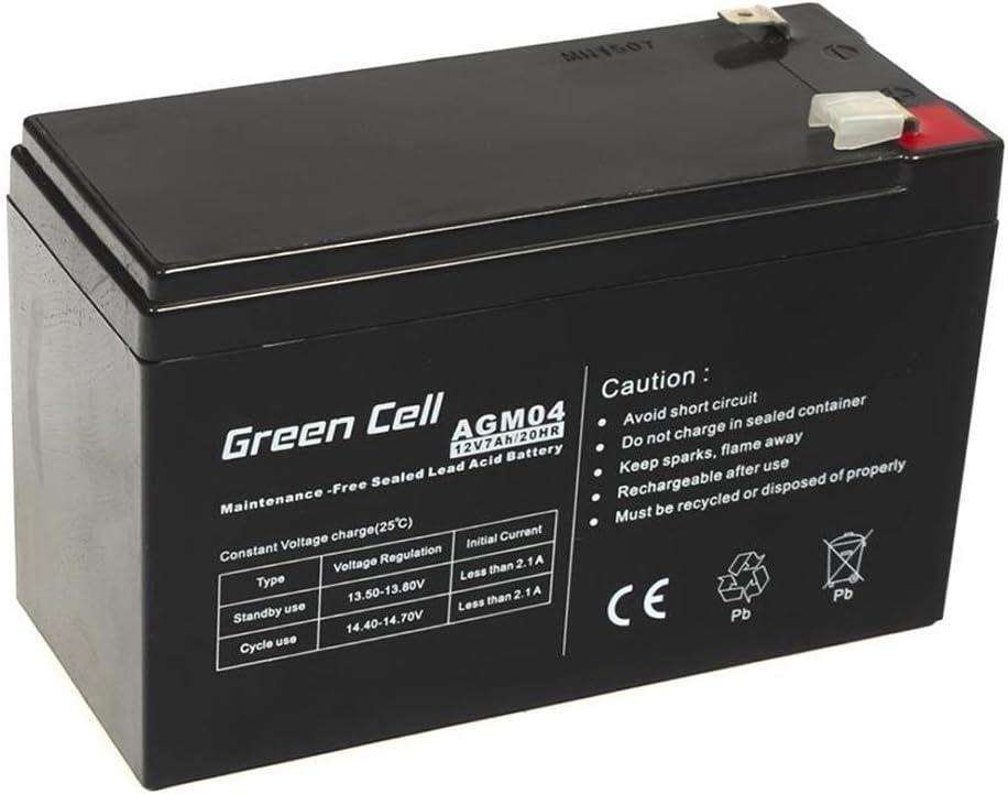 Green Cell® Recambio de Batería AGM (12V 7Ah VRLA Faston F2) Pila sellada de Plomo Acido Recargable Sealed Lead Acid VRLA para alarmas de hogar, Juguetes electricos, Sistemas UPS USV, Solarpanel