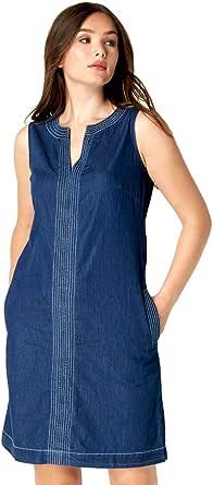 Roman Originals Vestido de mezclilla para mujer con bolsillos – túnica Jean Shift algodón contraste Top Stitch A-Line Smock casual hasta la rodilla sin mangas verano recto Pinafore