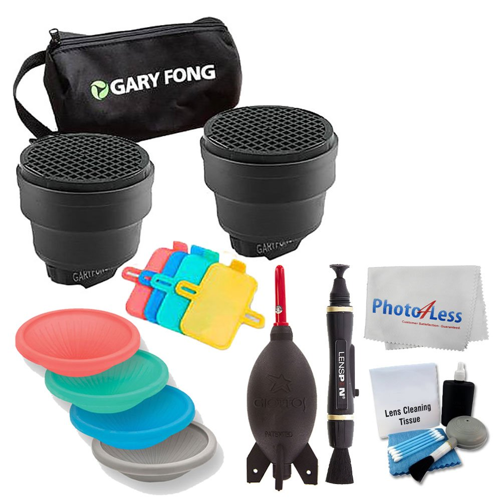 Gary Fong SSNOOT-KIT Dramatic Lighting Kit + Gary Fong DOM2 Dome Kit (Red/Green/Blue/Gray) + Giottos AA1900 Rocket Air Blaster + 5 Piece Cleaning Kit + Cleaning Pen & Cloth + Valued Accessory Bundle by Photo4Less