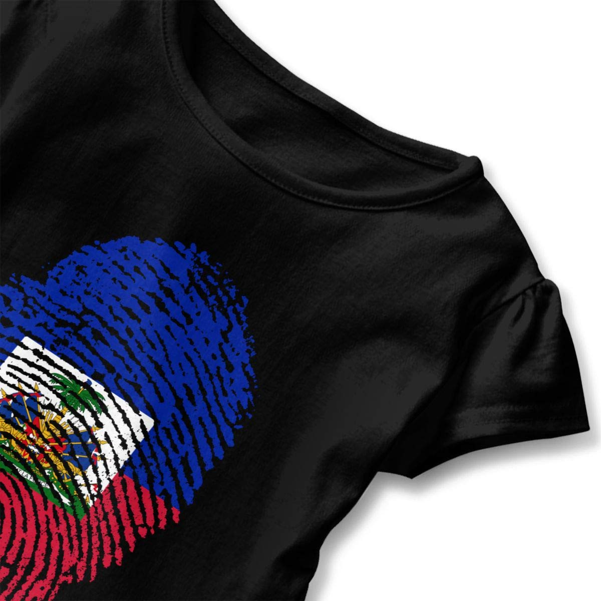 JVNSS Haiti Flag Fingerprint T-Shirt Kids Flounced T Shirts Cartoon Clothes for 2-6T Baby Girls