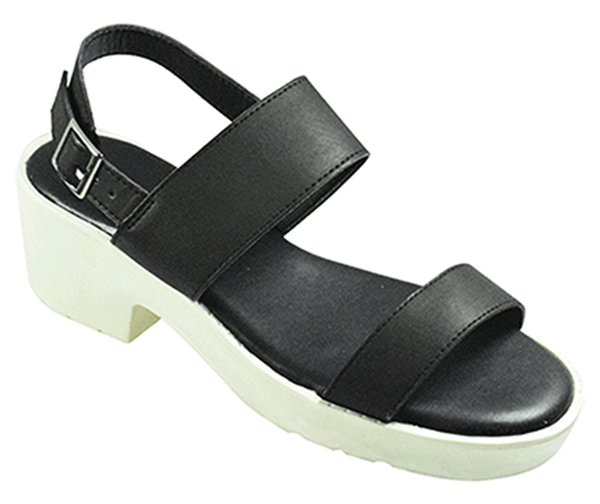 Top Selling Clare Black Platform Wedge Wide Width Summer Sandals Breathable Faux Leather Thick Strap Unusual Sandalias De Mujer Casuales Plataforma Slipon Shoes for Sale Women Ladies (Size 10, Black)