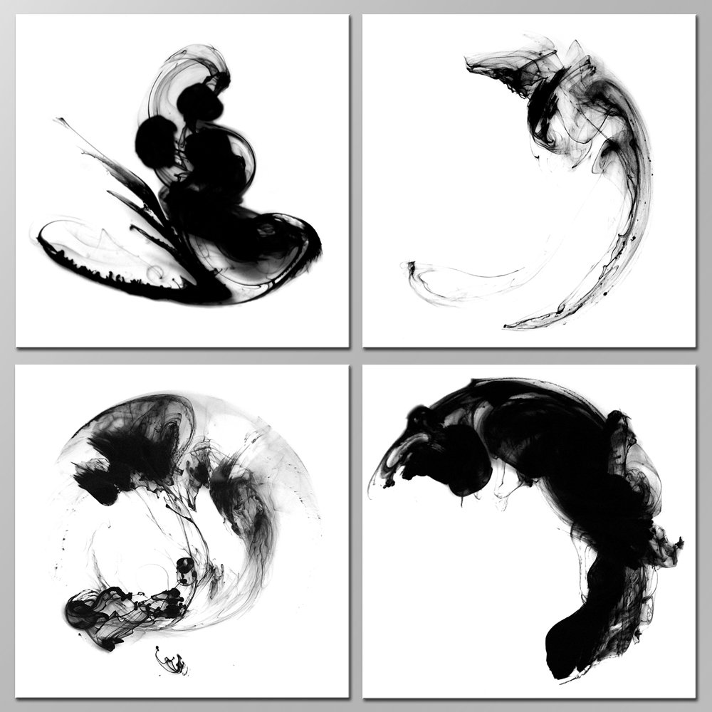 Sea Charm - Modern Minimalist Wall Art Abstract Black and White Ink Impression Painting Giclee Art with Frame,Home Office Wall Decoration Zen Art (12''x12''x4pcs)