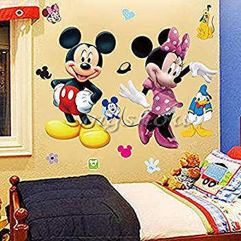 Elegant Mickey Minnie Mouse Kids Room Decor Disney Wall Sticker Cartoon Mural Decal  Home 1pc Part 26