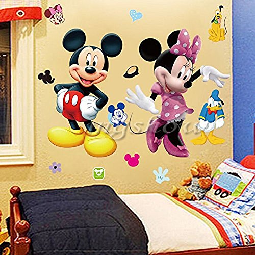 Mickey Minnie Mouse Kids Room Decor Disney Wall Sticker Cartoon Mural Decal Home 1pc (Minnie Home Decor)