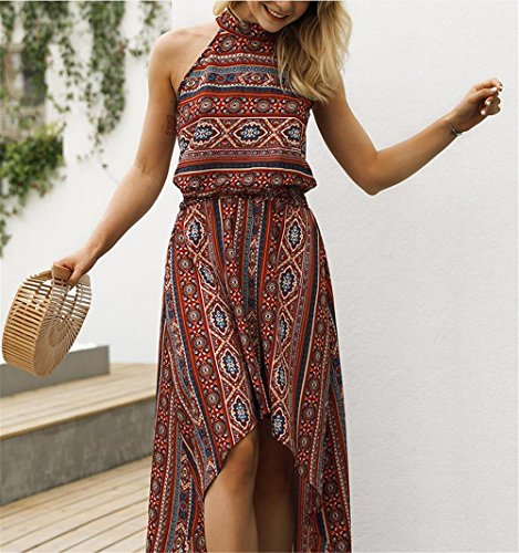 Halter Printed Beach Floral High Dress Maxi Women's Summer Casual Vintage Neck Red Party Low YwESzq