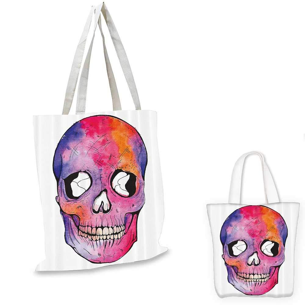 12x15-10 Skull Decorations canvas messenger bag Funny Figure Cranium Pattern with Cracks Day of the Dead Danger Terror Image canvas beach bag Multi