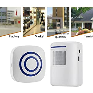 Motion Sensor Door Chime for Business, Outdoor Doorbell Kit Wireless Driveway Alert: Infrared Motion Sensor Chime with 1 Plug-in Receiver and 1 PIR Motion Sensor Detector Alert - LED Indicators (Color: 1 Receiver with 1 Sensor)