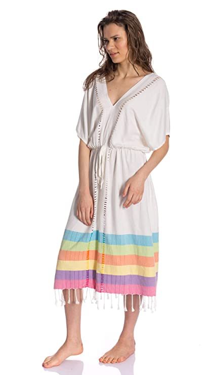 Amazon.com  Irya Home Meltem Collection Cotton Long Dress Beach Spa ... 238bd56d6