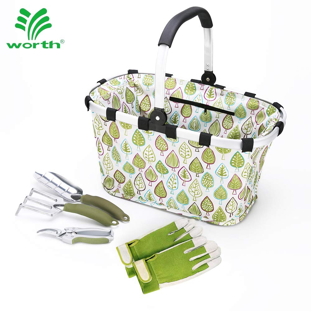 Worth Garden Tool Set 5 pc Heavy Duty Gardening Tools Kit, 7 Bypass Pruner Aluminium Trowel, Cultivator, Foldable Basket, Gloves, Gardening Gifts for Woman and Man