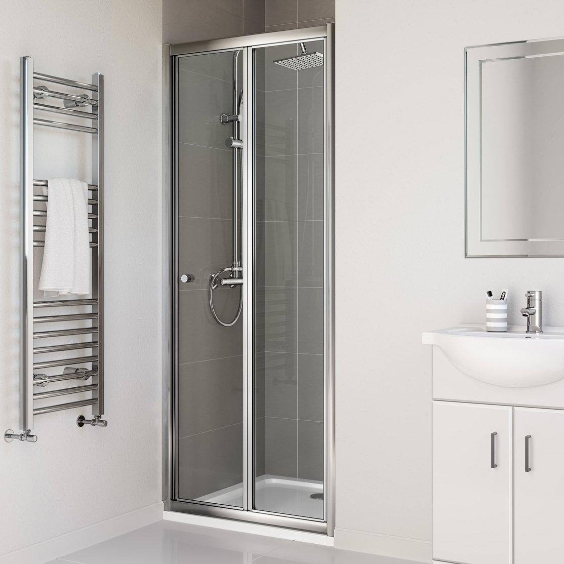 Ibathuk 800mm Bifold Glass Shower Enclosure Reversible Folding
