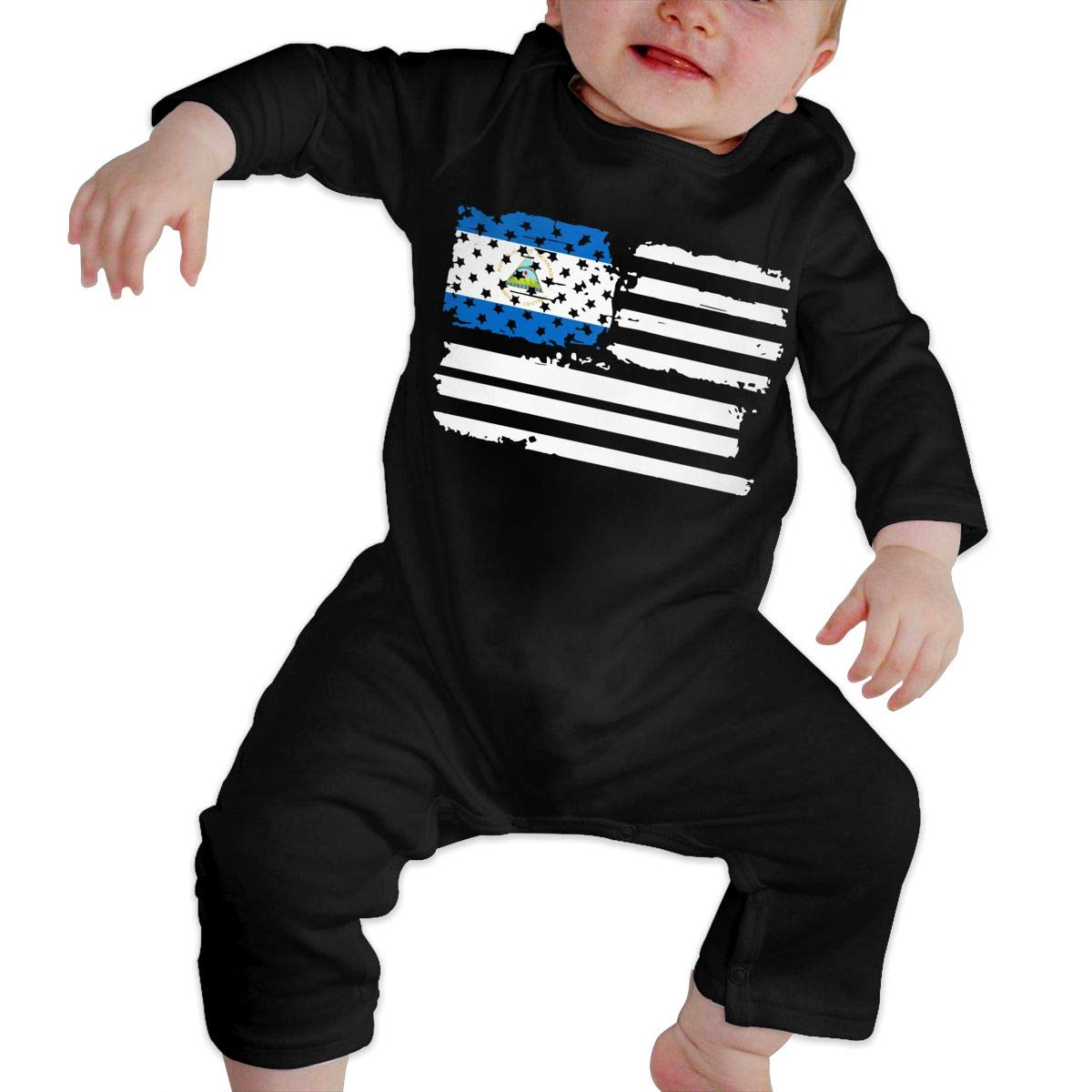 A1BY-5US Infant Baby Boys Girls Cotton Long Sleeve USA Flag Nicaragua Climb Romper Funny Printed Romper Clothes