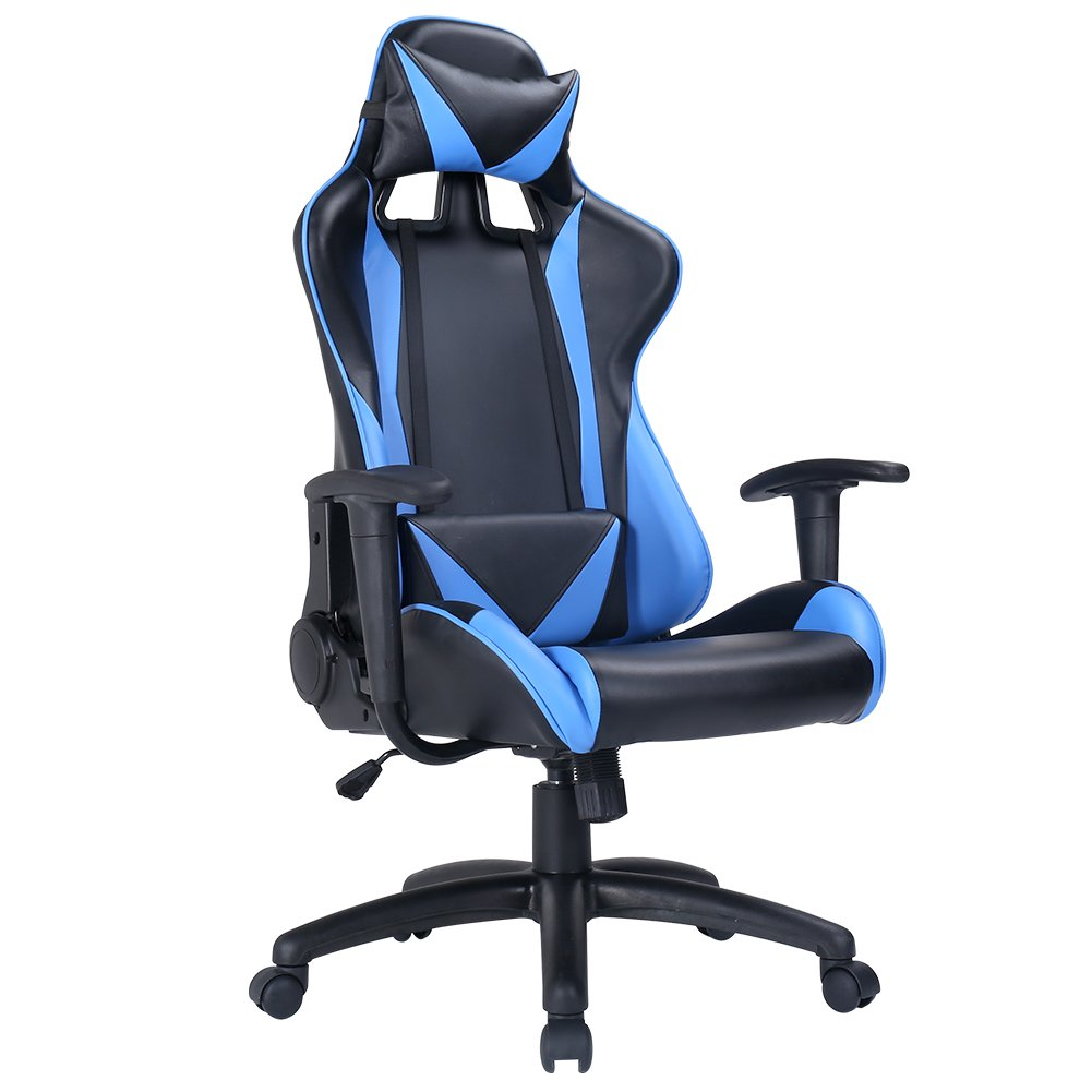 Zenith High Back PU Leather Swivel Gaming Chair with Adjustable Armrest Lumbar Support Headrest Racing Office Chair (Blue)