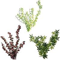 Flameer 3 Pcs eptile Terrarium Ivy Vines Vivarium Ornament Artificial Leaves Plant Decor Landscape-Suction Cups
