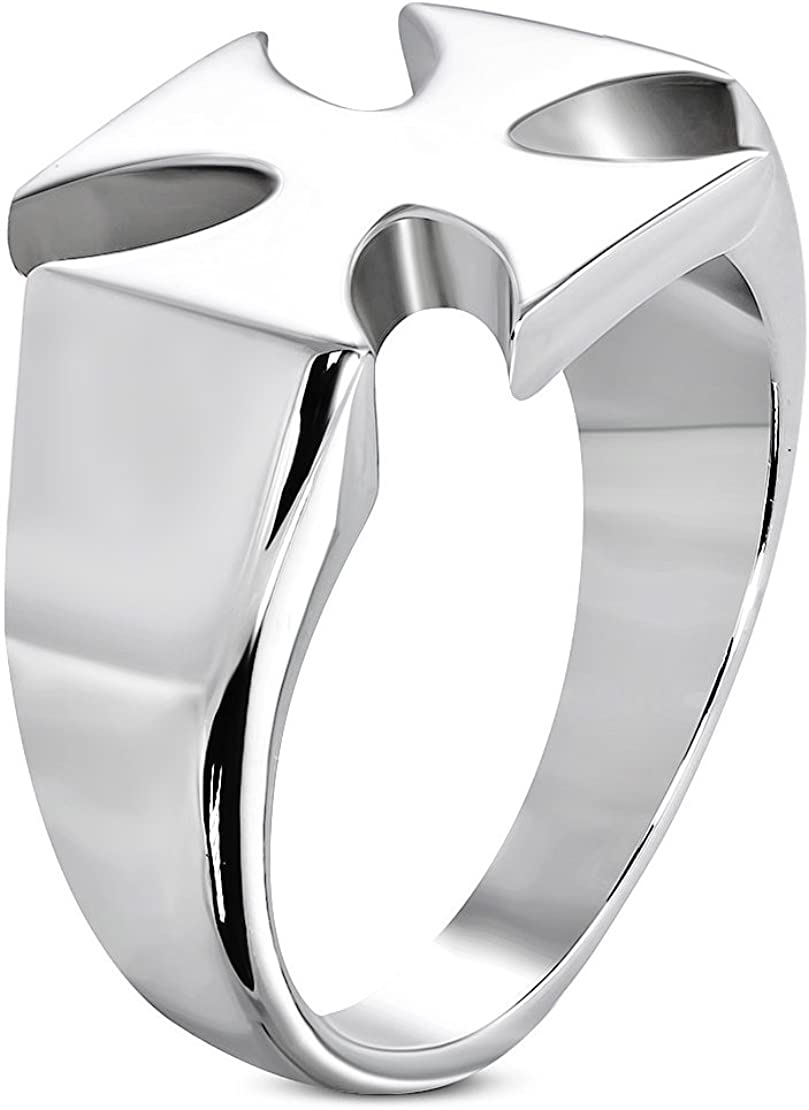 Stainless Steel Pattee Cross Biker Ring