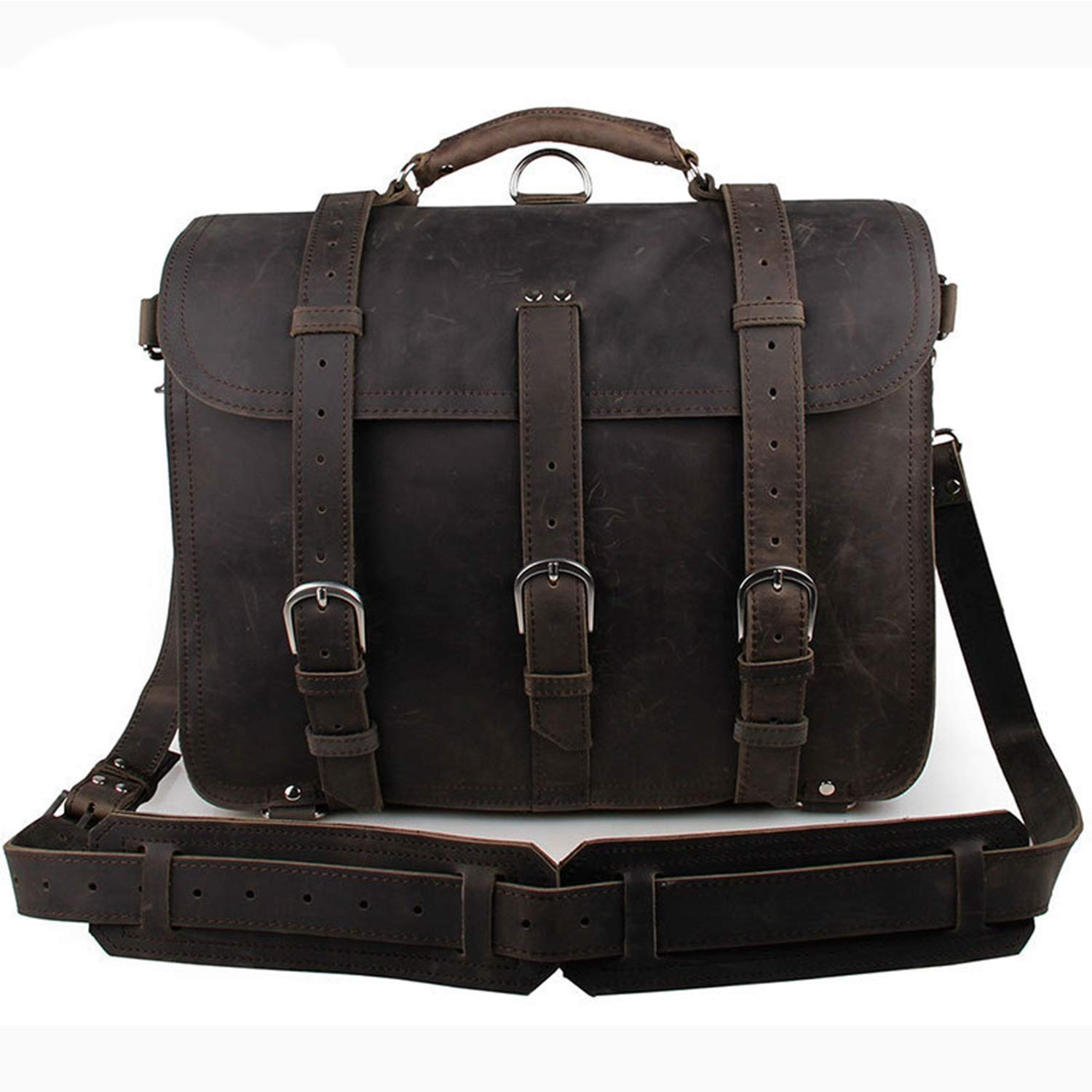 Men's Shoulder Bags Leather Retro Crazy Horse Leather Tote Bag Domineering Bags for Travel (color   Dark Brown)