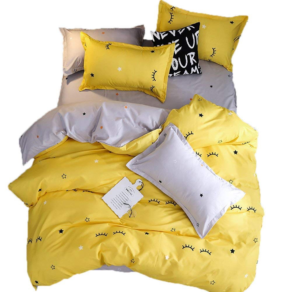 BeddingWish 3Pcs Yelllow Cartoon Curved Eyelashes Printed Bedding Set for Kids Girls and Boys,Including 1 Duvet Cover 2 Pillow Shams,NO COMFORTER AND SHEET,Twin