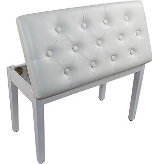 Lovely YMC White Ebony Wood Leather Piano Bench Padded Double Duet Keyboard Seat  Storage (White)