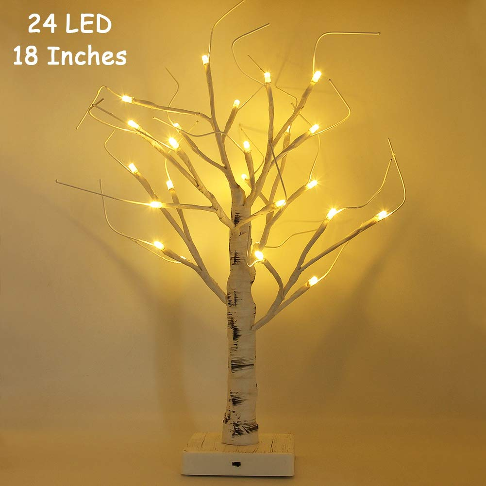 Twinkle Star 24 LED Tabletop Lighted Birch Tree Battery Operated, Thanksgiving Table Decoration Lights for Indoor Christmas Wedding Party Home Bedroon Fall Decoration