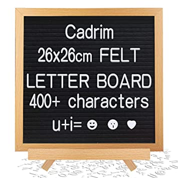 Cadrim Tablero de Letras, Letter Board con Soporte 25.6x25.6cm Tablero de Anuncios de Madera con 400 Letras, Números y Emojis Blancos (3 Tamaños ...