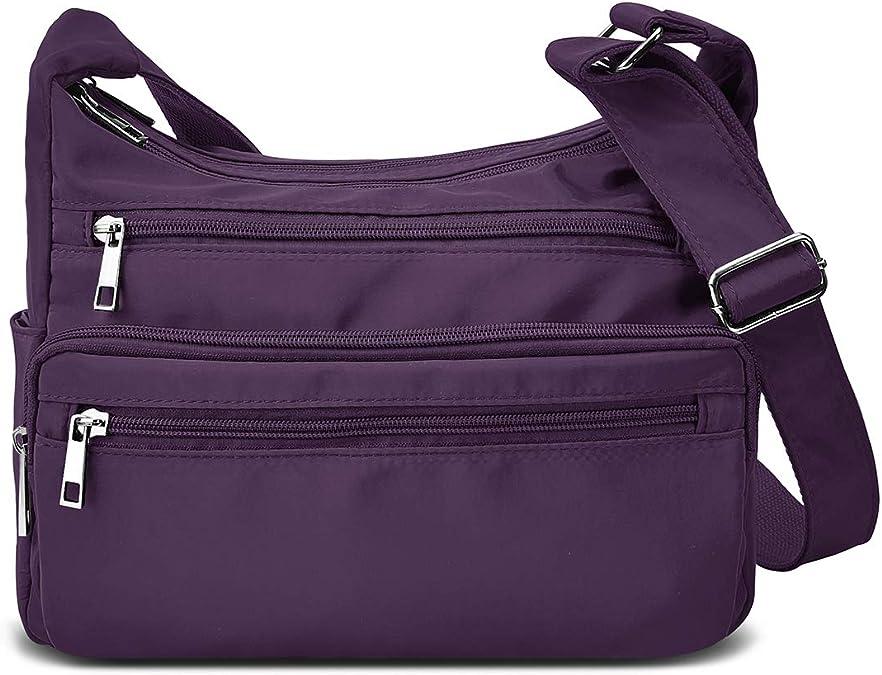 Rfid Purses For Women Fabric Nylon Multi Pocket Crossbody Bag Ladies Travel Handbag Handbags Amazon Com