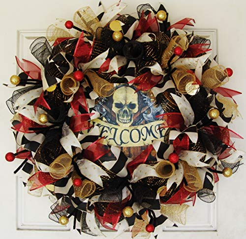 Gasparilla Festival, Welcome Pirate Skull Skeleton Deco Mesh Front Door Wreath, Party Decoration, Halloween Prop Decor, Porch Patio Outdoor Wall Gift, Present]()