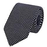 White Black Tie Woven Casual Preppy Stylish Necktie for Tall and Big Men or Boys