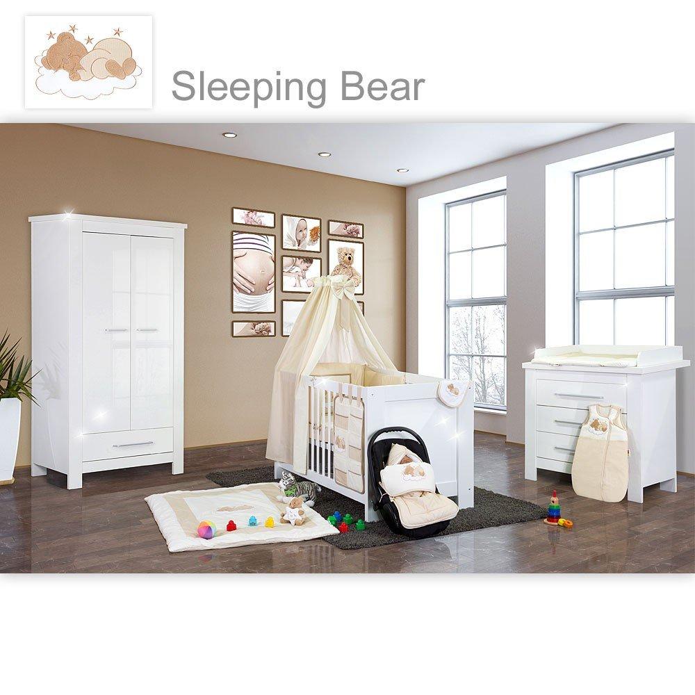 24-tlg. Babyzimmer Enni Hochglanz mit 2 türigem Schrank in Sleeping Bear beige
