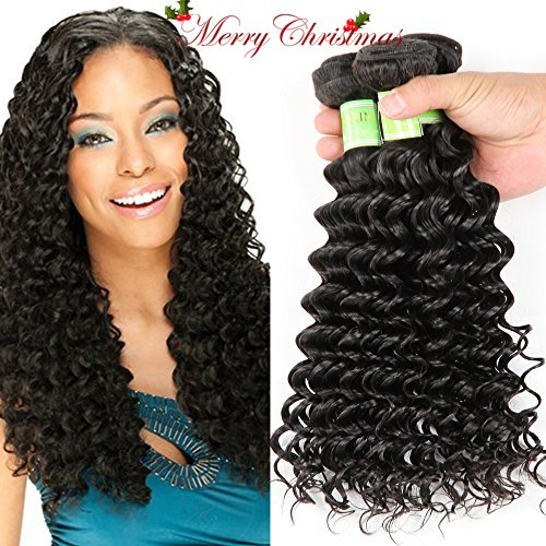 Golden Rule Hair 3 Bundles Virgin Brazilian Hair Deep Wave Human Hair Extensions Unprocessed Human Hair Weave Natural Color Can Be Dyed and Bleached (12 14 16)