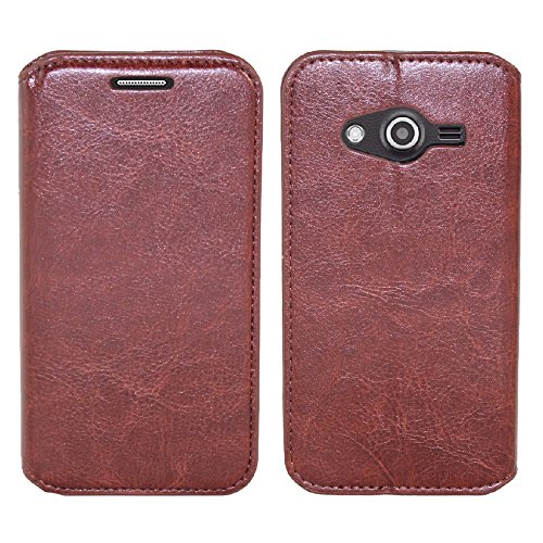 Samsung Galaxy Avant Case, SOGA Luxury PU Leather Folio Flip Wallet Case for Samsung Galaxy Avant G386T (T-Mobile) – Brown / Black [SWF629] (T Phone Galaxy Mobile Case Avant)