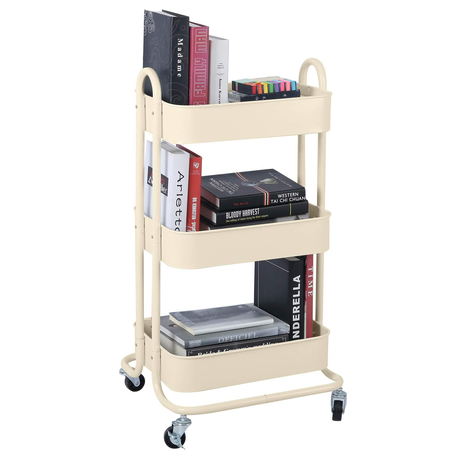 3-Tier Metal Mesh Utility Rolling Cart Storage Organization Cart with Wheels, Beige by Melody House