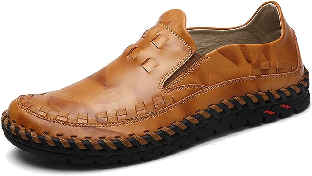 Lakerom Zapatos Mocasines para Hombres Zapatos sin Cordones Zapatos de Cuero Casuales