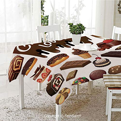 AmaUncle 3D Print Table Cloths Cover Chocolate Lover Sweets Cake Decorations Pattern Icecream Retro Style Design Cafe Home Resistant Table Toppers (W60 xL84)]()