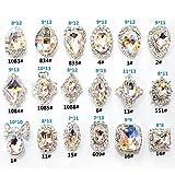 3d crystal gems - JIEPING 18 Pcs/Bag Rhinestone Nail Art Decoration Glitter Charming Shiny Faux Gem 3D DIY Nail Art Tips