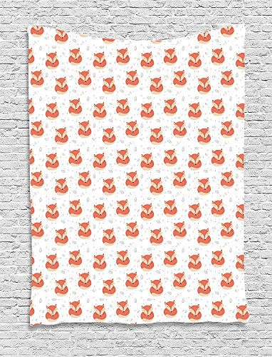 Fox Tapestry, Cute Sleeping Animals Pattern on Heats and Leaves Background Vintage Inspirations, Wall Hanging for Bedroom Living Room Dorm, 60 W X 80 L Inches, Coral Beige by asddcdfdd