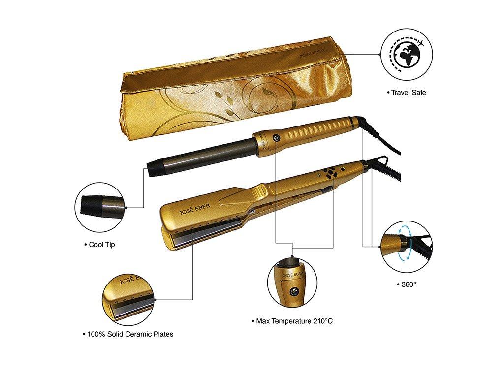Jose Eber Gift Set, Gold Color, 25mm Curling Iron, 1.25'' Ceramic Straightener, Travel Case, Dual Voltage 110V-240V by Jose Eber (Image #6)