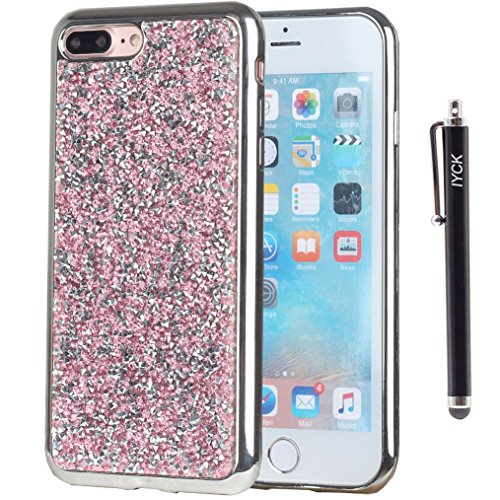 Rhinestone Cover Bling Diamond (iPhone 8 Plus Case, iPhone 7 Plus Case, iYCK Luxury 3D Handmade Electroplated Soft Flexible TPU Crystal Diamond Rhinestone Bling Glitter Protective Back Case Cover for iPhone 7/8 Plus 5.5inch - Pink)