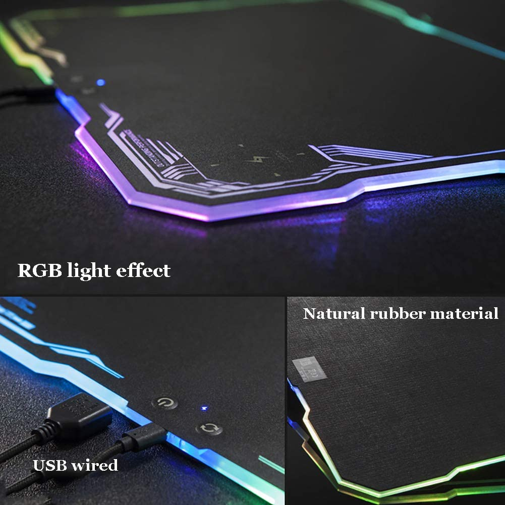 ZFMG Mouse Pad RGB Universal Hard Non-Slip USB Interface Internet Cafe Desktop Pad,B,36x26CM(14x10inch) Gaming Luminous Wireless Mobile Phone Charging Mouse Pad