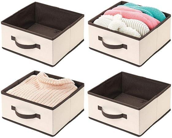 mDesign Juego de 4 organizadores de armarios para Ropa – Prácticas Cajas para Guardar Ropa en el Dormitorio – Caja Plegable de Tela con asa para ordenar armarios – Crema/marrón: Amazon.es: Hogar