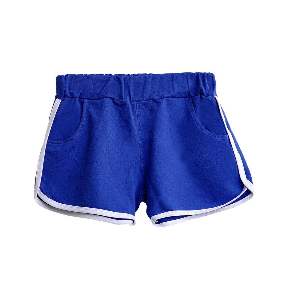 TRENDINAO Women's Summer High Waist Casual Shorts, New Pants Women Sports Shorts Gym Workout Waistband Skinny Yoga Short Blue