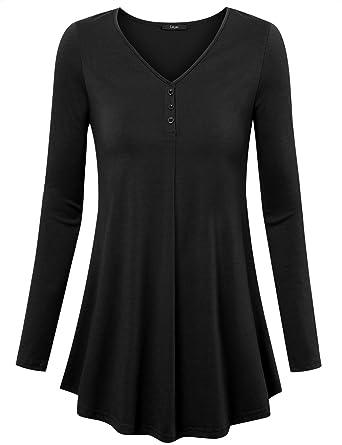 47751a537de Laksmi Casual Tunic Shirt, Womens Long Sleeve Loose Button Decor Trim Blouse  V Neck Solid
