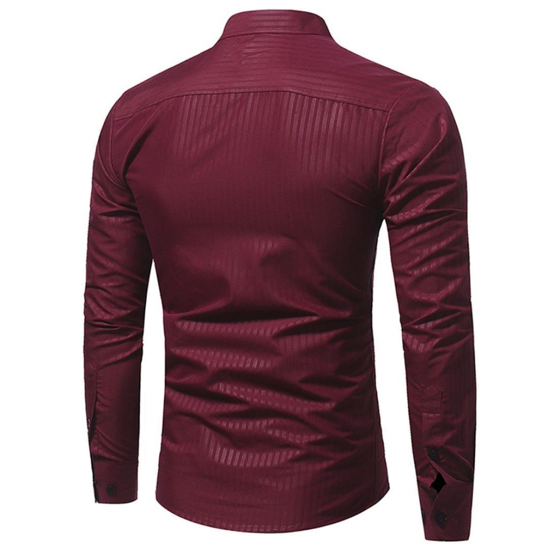 Ximandi Casual Men Shirt Long Sleeve Slim Fit Shirt Mens Striped Dress Shirts by Ximandi (Image #2)