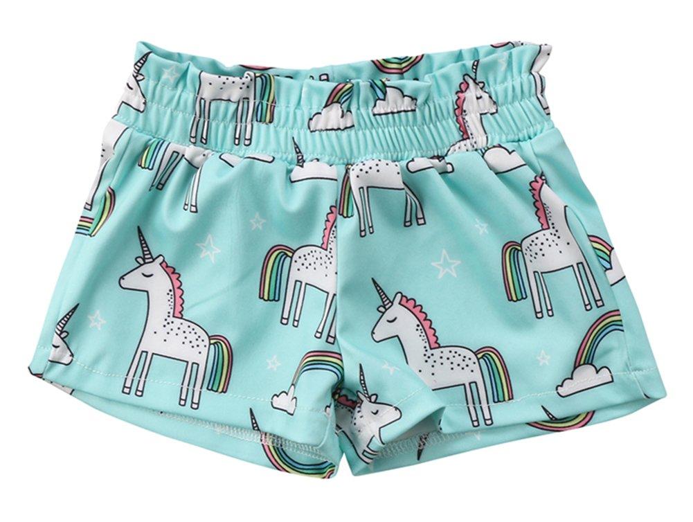 stylesilove Baby Girl Cute Unicorn Print Shorts (100/9-12 Months)